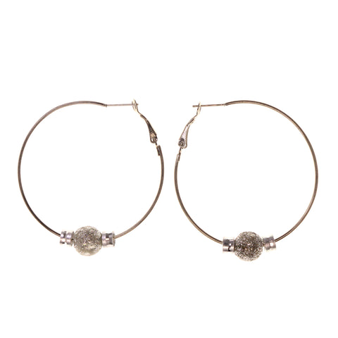 Glitter Sparkle Hoop-Earrings Silver-Tone Color #LQE2180