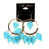 Blue & Silver-Tone Colored Metal Dangle-Earrings With Bead Accents #LQE2189
