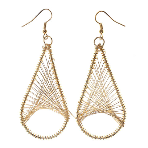 Wire Wrap Dangle-Earrings Gold-Tone Color #LQE2213