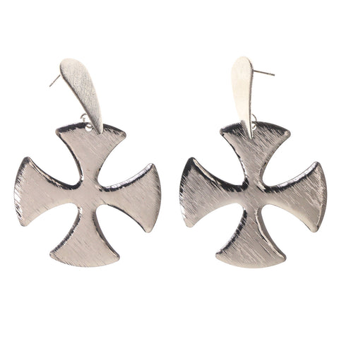 Iron Cross Drop-Dangle-Earrings Silver-Tone Color #LQE2226