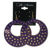 Purple & Gold-Tone Colored Metal Dangle-Earrings #LQE2236