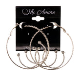 Silver-Tone Metal Hoop-Earrings #LQE2239