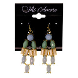 Blue & Green Colored Metal Dangle-Earrings With Bead Accents #LQE2251