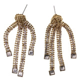 Gold-Tone & Silver-Tone Metal Dangle-Earrings Crystal Accents #LQE2254