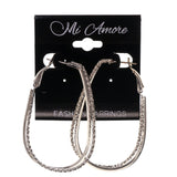 Silver-Tone Metal Hoop-Earrings #LQE2268