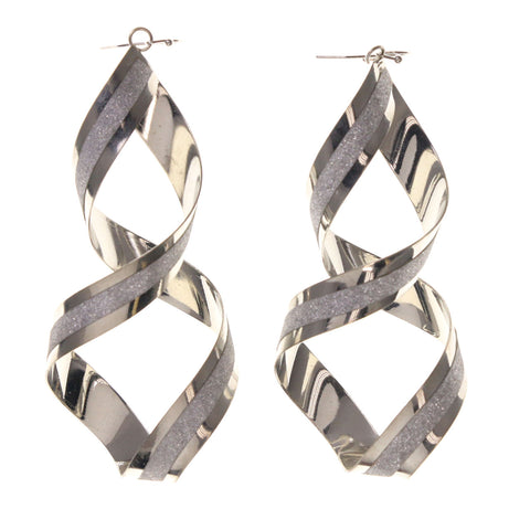 Glitter Sparkle Dangle-Earrings Silver-Tone Color #LQE2287