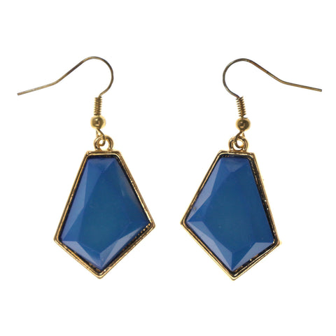 Blue & Gold-Tone Colored Metal Dangle-Earrings #LQE2293