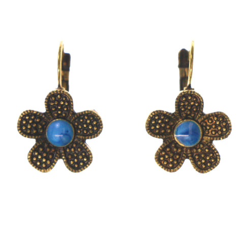 Gold-Tone & Blue Colored Metal Dangle-Earrings With Stone Accents #LQE2295
