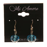 Silver-Tone & Blue Colored Metal Dangle-Earrings With Bead Accents #LQE2313