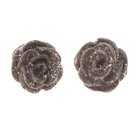 Glitter Sparkle Rose Stud-Earrings Silver-Tone Color #LQE2329