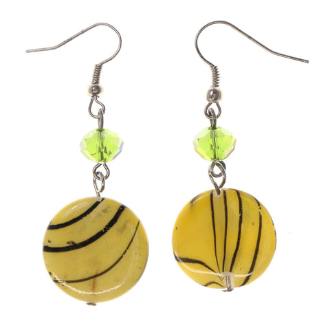 Yellow & Green Colored Acrylic Dangle-Earrings With Bead Accents #LQE2333