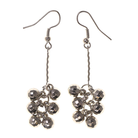 Silver-Tone Metal Dangle-Earrings With Bead Accents #LQE2355