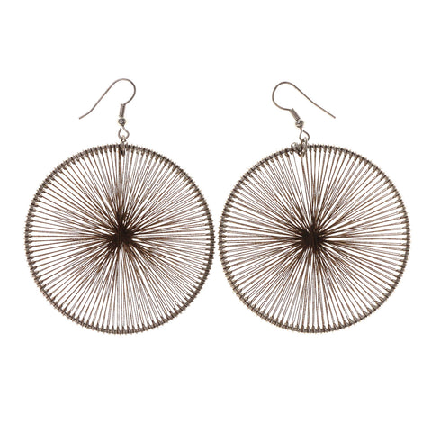 Silver-Tone & Brown Colored Fabric Dangle-Earrings #LQE2370