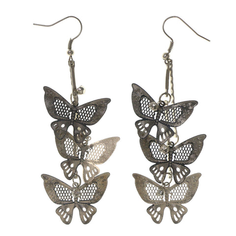 Silver-Tone Metal Dangle-Earrings With Crystal Accents #LQE2376