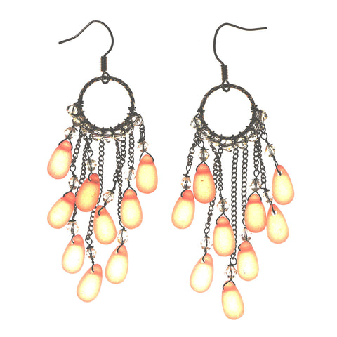 Pink & Silver-Tone Colored Metal Dangle-Earrings With Bead Accents #LQE2389