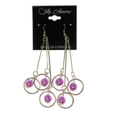 Silver-Tone & Purple Colored Metal Dangle-Earrings With Bead Accents #LQE2397
