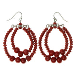 Red Wooden Dangle-Earrings With Bead Accents #LQE2407