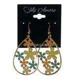 Flower Dangle-Earrings Gold-Tone & Multi Colored #LQE2419