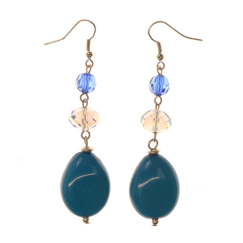 AB Finish Dangle-Earrings With Bead Accents Blue & Clear Colored #LQE2432
