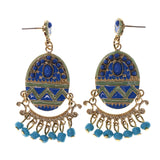 Gold-Tone & Blue Colored Metal Drop-Dangle-Earrings With Bead Accents #LQE2437