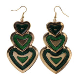 Glitter Sparkle Heart Dangle-Earrings Green & Gold-Tone Colored #LQE2441