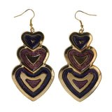 Glitter Sparkle Heart Dangle-Earrings Purple & Gold-Tone Colored #LQE2442