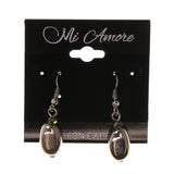Silver-Tone & Green Colored Metal Dangle-Earrings With Bead Accents #LQE2454