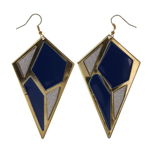 Glitter Sparkle Dangle-Earrings Gold-Tone & Blue Colored #LQE2461