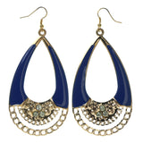Gold-Tone & Blue Colored Metal Dangle-Earrings With Crystal Accents #LQE2501