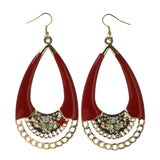 Gold-Tone & Red Colored Metal Dangle-Earrings With Crystal Accents #LQE2502
