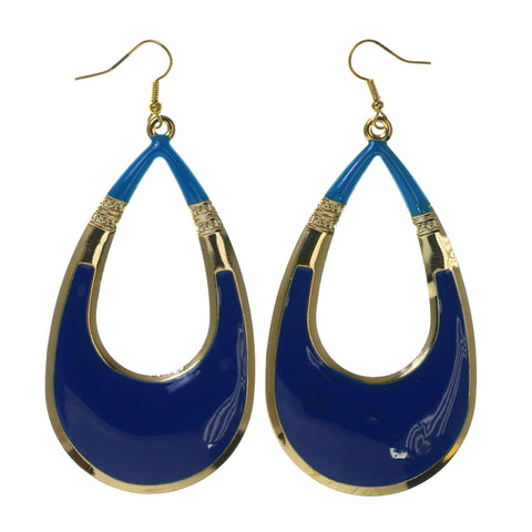 Blue & Gold-Tone Colored Metal Dangle-Earrings #LQE2504