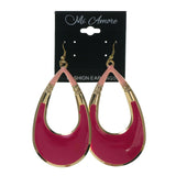 Pink & Gold-Tone Colored Metal Dangle-Earrings #LQE2506