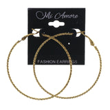 Gold-Tone Metal Hoop-Earrings #LQE2522
