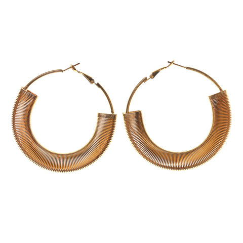 Gold-Tone Metal Hoop-Earrings #LQE2523