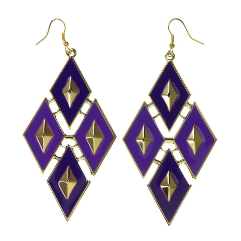 Purple & Gold-Tone Colored Metal Dangle-Earrings #LQE2548