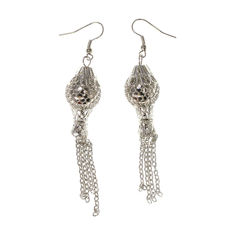 Silver-Tone Metal Dangle-Earrings #LQE2552