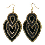 Black & Gold-Tone Colored Metal Dangle-Earrings #LQE2561