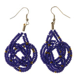 Blue & Silver-Tone Colored Metal Dangle-Earrings With Bead Accents #LQE2604