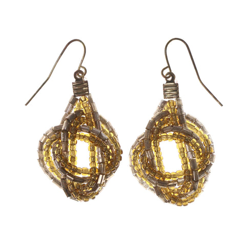 Brown & Gold-Tone Colored Acrylic Dangle-Earrings With Bead Accents #LQE2610