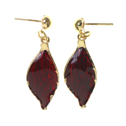 Red & Gold-Tone Colored Metal Dangle-Earrings #LQE2613