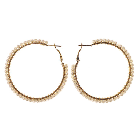 Gold-Tone & White Colored Metal Hoop-Earrings With Bead Accents #LQE2634