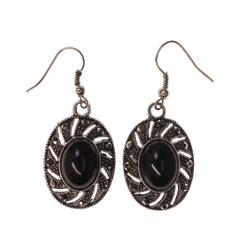 Silver-Tone & Black Colored Metal Dangle-Earrings With Crystal Accents #LQE2643