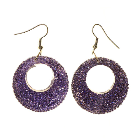 Purple & Silver-Tone Colored Acrylic Dangle-Earrings #LQE2644