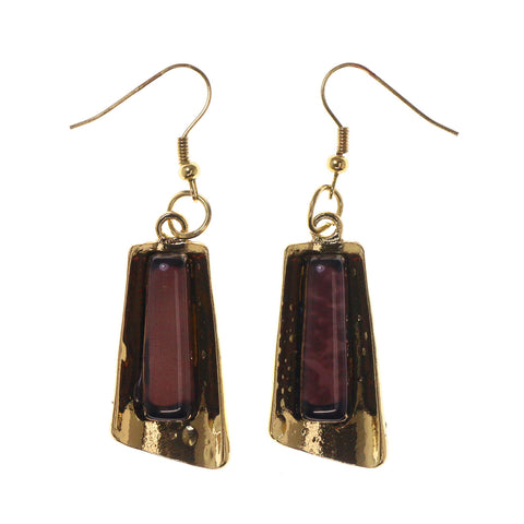 Gold-Tone & Brown Colored Metal Dangle-Earrings With Bead Accents #LQE2700