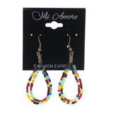 Colorful & Silver-Tone Acrylic Dangle-Earrings Bead Accents #LQE2702
