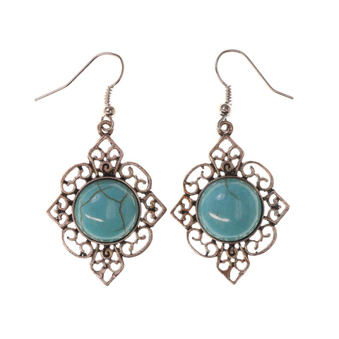 Blue & Silver-Tone Colored Metal Dangle-Earrings With Stone Accents #LQE2707