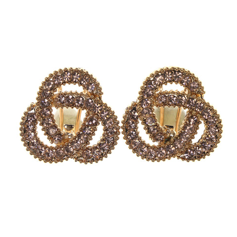 Gold-Tone & Peach Colored Metal Stud-Earrings With Crystal Accents #LQE2714