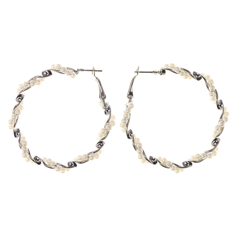 Silver-Tone & White Colored Metal Hoop-Earrings With Bead Accents #LQE2717