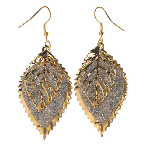 Colorful  Glitter Sparkle Leaf Dangle-Earrings #LQE2720