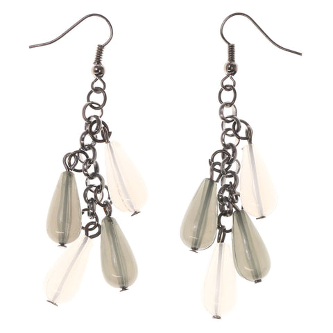 Gray & White Colored Acrylic Dangle-Earrings With Bead Accents #LQE2721